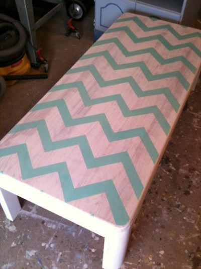 my first diy chevron coffee table