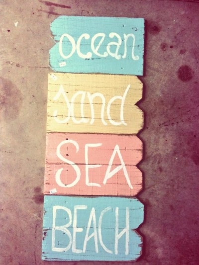 Reclaimed Fence Wood Beach Signs